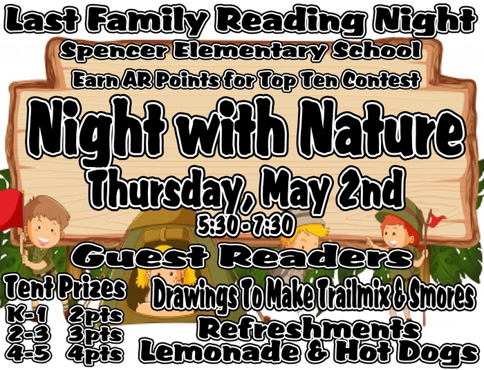 Family Reading Night Flyer for May 2, 2019, 5:30-7:30 p.m.