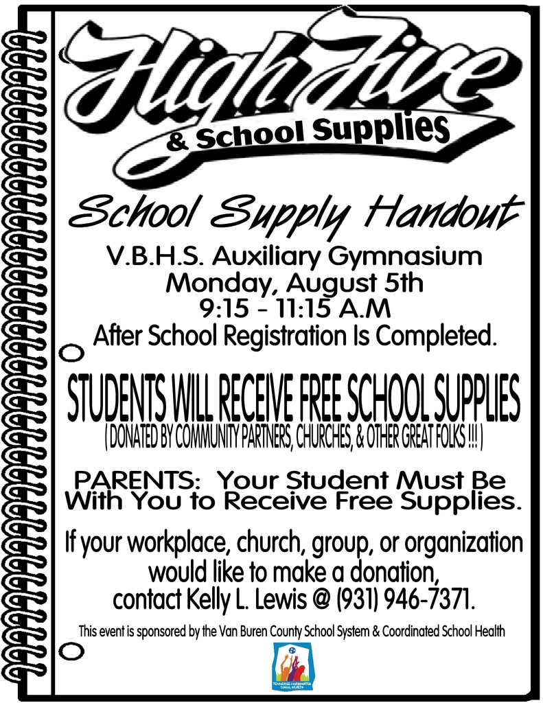 High 5's & School Supplies Event Flyer