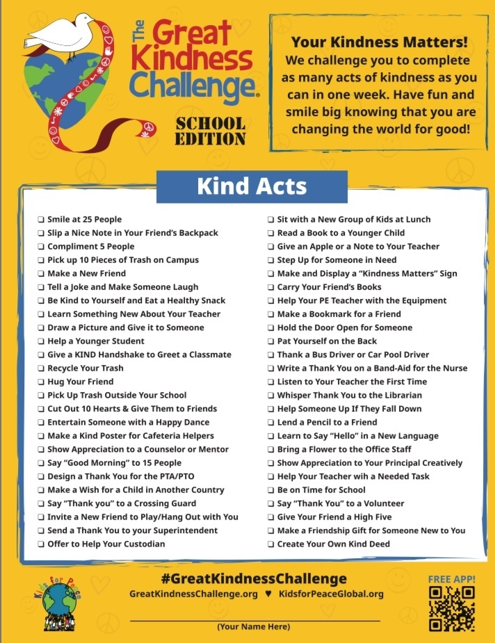 Great Kindness Challenge Checklist-SE
